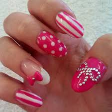 nail design nail art designs pink and white color zebra acrylic ...