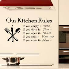 our kitchen rules kitchen wall sticker home decor vinyl wall decal for kitchen room art characters art decal wall stickers art decals from fst1688