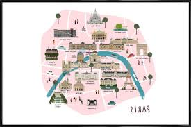well known paris map as poster in standard framealex foster gallery 10 of 15 previous photo map of paris wall art