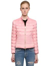 Light Pink Down Jacket Quilted Nylon Down Jacket