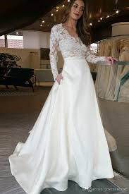 Designer Bridal Gowns With Sleeves Cheap A Line Wedding Dresses Long Sleeves Lace See Through Top Skirt With Pockets Designer Bridal Gowns Custom Made Wedding Dress Bridal Couture