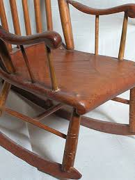 wonderful small old wood doll rocker with inlaid center seat