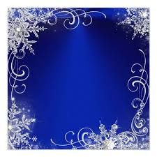 Wedding Invitation Background Blue Quinceanera Masquerade Royal Blue White Snowflakes Card