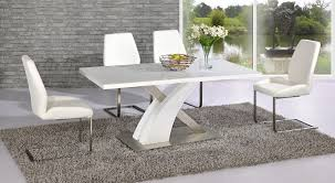 full white high gloss glass dining table and 4 chairs