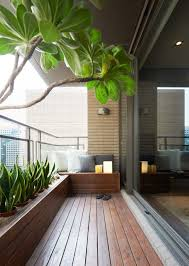 Outside the living room, a beautiful covered terrace acts as a miniature  backyard, complete. Balcony DesignBalcony ...