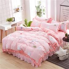 pink rabbit kawaii bedding set kids girl bed sheet twin full queen king size pillowcase duvet cover bed line home texile canada 2019 from huojuhua