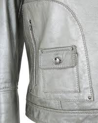 maxmara metal silver lambs leather biker jacket xs image image
