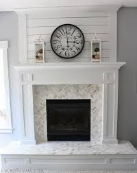 White Fireplace Makeover I want to do something similar to this on wall  above fireplace, bring it up to ceiling. White mantle, Shiplap and  herringbone ...