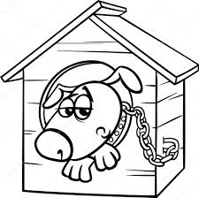 Triest Hond In Kennel Kleurplaten Pagina Stockvector Izakowski