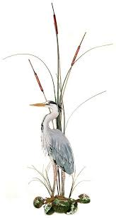 >w365l bovano large great blue heron with cattails facing left bovano  w365l bovano large great blue heron with cattails facing left bovano wall hangings metal art artisan house nature metal glass figures large great blue