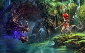 1680x1050 dragon fin soup, dragon, girl ...