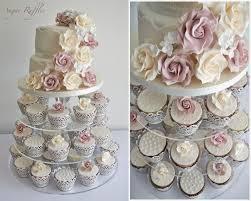 Vintage Roses Lace Wedding Cupcake Tower