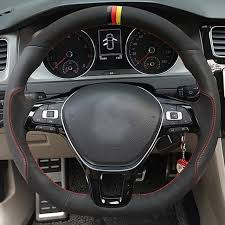 shining wheat hand stitched black suede black leather steering wheel cover for volkswagen vw golf 7 mk7 new polo jetta passat b8