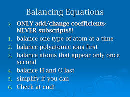 balancing equations only add change coefficients never subscripts