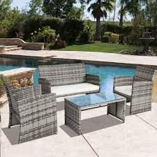 best choice s outdoor patio furniture cushioned 4 piece wicker sofa coversation set gray 0
