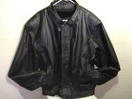 details about oscar piel size men s sz l black genuine leather er lined jacket