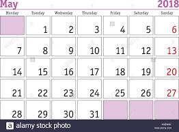 Simple Digital Calendar For May 2018 Vector Printable Calendar