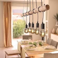 Pendelleuchte Vintage Holz Led Filament Hängeleuchte Dimmbar Pendellampe Leuchte