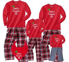 Santa\u0027s Favorite Elf Long Matching Holiday Red Christmas Sets Family Pajamas | Personalized Pajama