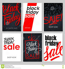 Sales Flyers Template Set Of Black Friday Sale Flyers With Handwritten Elements Stock