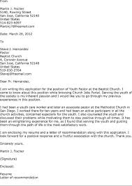 Cover Letter Examples Youth Ministry   Professional Cv Writing