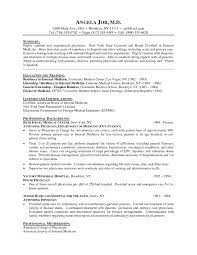 Curriculum Vitae Medical Doctor Resume Cover Letter Example