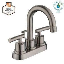 centerset 2 handle high arc bathroom faucet in brushed nickel