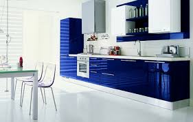 Perfect Modern Kitchen Cabinets Blue Contrast O Throughout Design