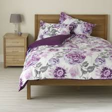 wilko duvet set double watercolour fl purple