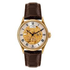 rotary watches ernest jones rotary men s gold plated skeleton watch product number 3573613