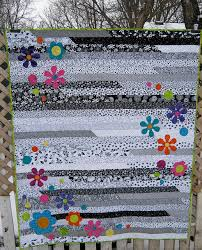 Funky Flower Jelly Roll 1600 | Jelly roll race, Jelly roll ... & what a fun quilt idea. Another idea for black, white and gray. It's just a jelly  roll race quilt with colorful appliquéd flowers. Would be very easy to do  ... Adamdwight.com