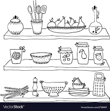 Kitchen utensils on shelves sketch drawing Vector Image