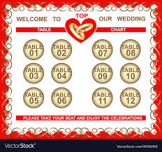 Wedding Frame Seating Plan Table Chart