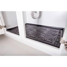 Kitchen Liners For Cabinets Xtreme Mats Black Kitchen Depth Under Sink Cabinet Mat Drip Tray