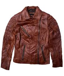 tan brown distressed leather moto jacket womens