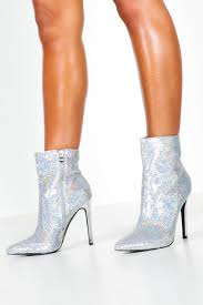 Sequin Pointed Shoe Boots Silver