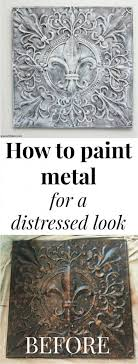 painting metal for a fun diy wall art project with text overlay how