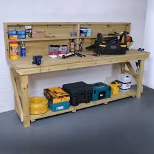 wooden work bench with back panel pressure treated