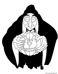 Witch Holding Pumpkin Disney Halloween Coloring