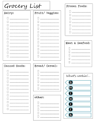 Diabetic Meal Planner Free Free Printable Grocery Lists Categories List And Meal
