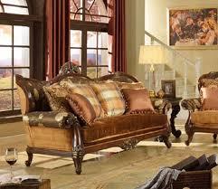 mc1354 walnut wood trim antique fl fabric sofa