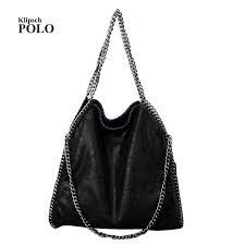 women soft leather 3 silver chains shoulder bag