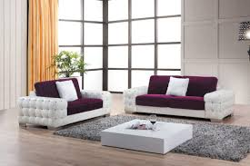 ... Sofa, White And Purple Modern Sofa With Square Low Profile Coffee Table  In Beautiful Room ...