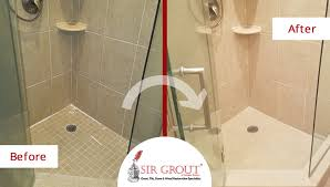 before and after picture of a tile shower grout sealing service in quincy ma
