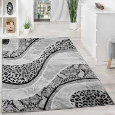 luxury designer rug animal print leopard snake grey black cream