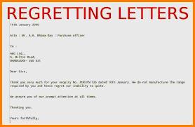 9 regret letter sle memo heading