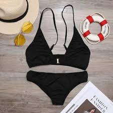 <b>Women S</b>-<b>XL</b> Spaghetti Straps <b>O</b>-<b>Neck</b> Front Hasp Bikini Swimwear ...