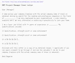 Erp Project Manager Cover Letter Job Application Letter
