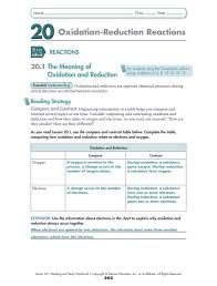 Charting Oxidation Number Worksheet Answer Key Oxidation Reduction Reactions