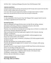 executive catering chef job description what is the job description of a chef